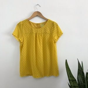 Maeve Mustard Yellow Polka Dot Sheer Blouse 8 B3